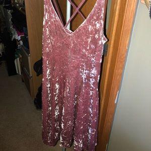 AEO Pink Velvet Dress